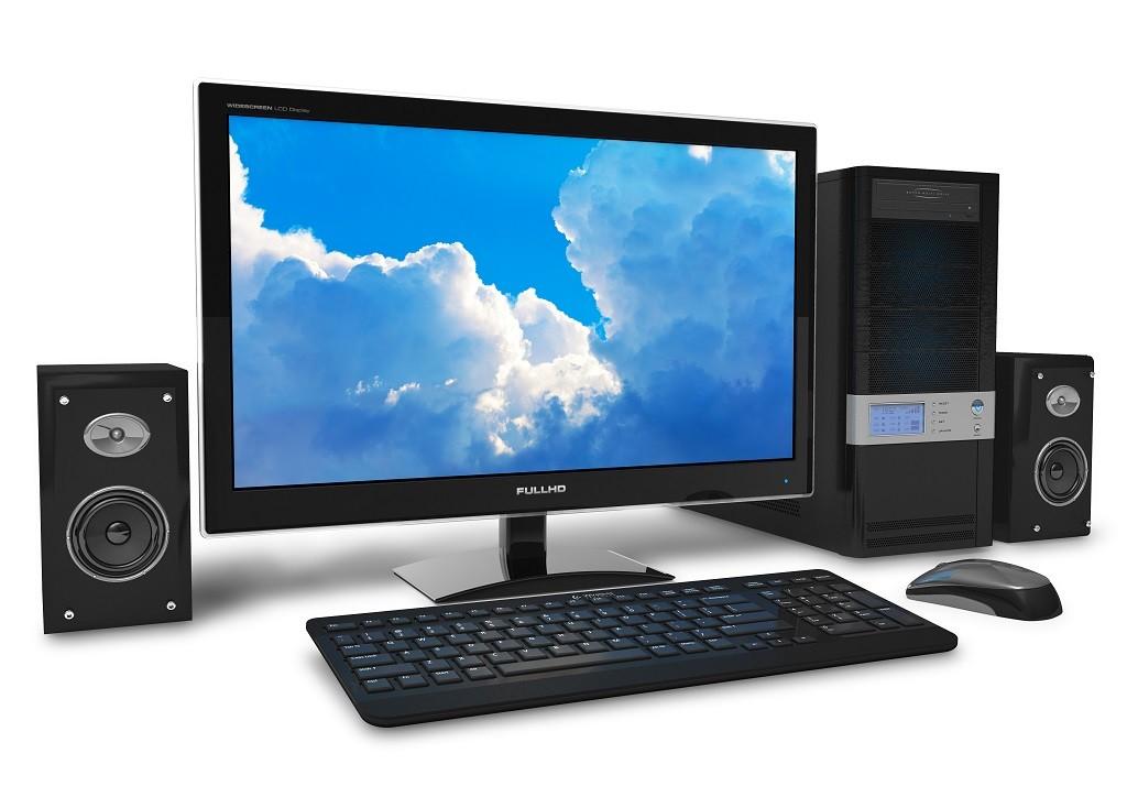 czarny komputer stacjonarny na białym tle